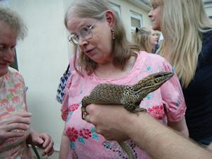 Picture of Annabel meeting a monitor lizard