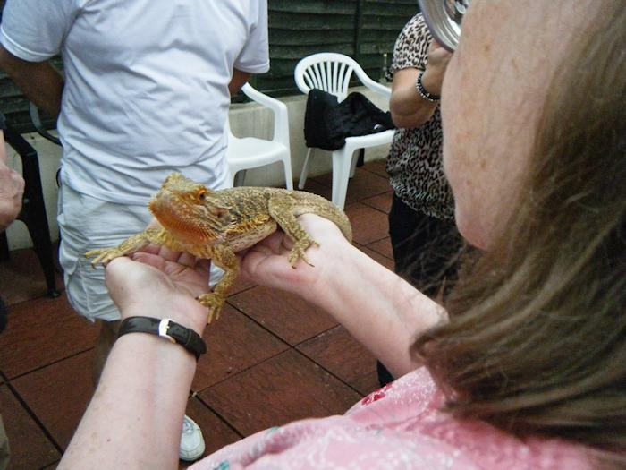 Picture of Annabel holding a bearded dragon