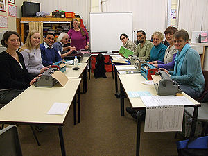 Picture of the Thursday night Braille class